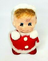 """Flocked Freckled Kid Santa with Hair in Suit 8"""" Vintage Christmas Child"""
