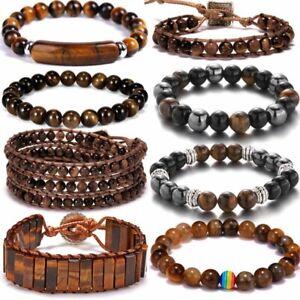 Tiger Eye Natural Stone Beaded Charm Bracelet Elastic Women Bangle Jewelry Gift