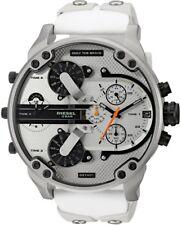 New  DZ7401 Diesel Men's Mr Daddy 2.0 White Leather Silicone  Strap Watch