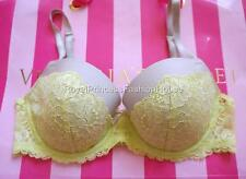 All New Victoria's Secret Dream Angels Full Lace Bow Lined Demi Bra Green 34D