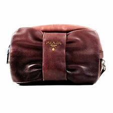 PRADA BOW CLUTCH - OMBRE GRADIENT PINK & BLACK LEATHER ZIP GLACE BAG SILVER GOLD