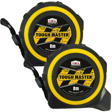 Toughmaster Pocket Tape Measures Metric/Imperial 8M/26ft Anti-Impact Pack of 2