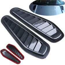 2x Plastic Car Hood Scoop Carbon Style Bonnet Air Vent Decorative Accessories