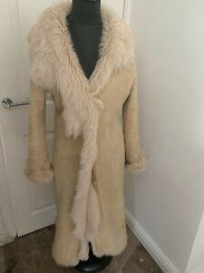 Marks and Spencer shearling sheepskin maxi real fur women coat S UK8-10US4-6EU34