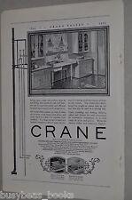 1925 Crane Company advertisement, 1920's modern kitchen cast iron sink cupboards