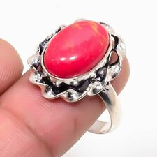 Copper Red Turquoise Handmade Ethnic Style Jewelry Ring Size 7.5 MS452