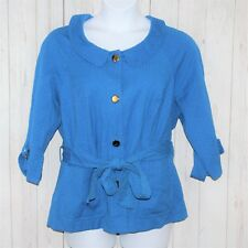 Lane Bryant Sz 22 Belted Blue Textured Cotton Blend Gold Colored Buttons Jacket