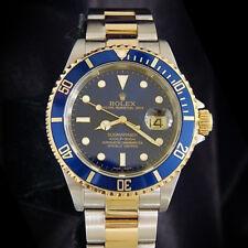 Rolex Uboot 18k Gold & Edelstahl Armbanduhr Blau Sub keine Löcher Sel 16613T