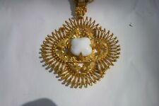Vintage Larry Vrba Castlecliff Kissing Indians Statement Necklace  white stone
