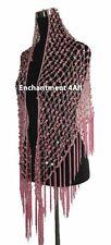 Exotic Handmade Crochet Net Triangular Shawl Wrap Hip Scarf w/ Sequins, Pink