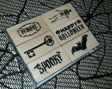 Happy Halloween Rubber Stamp Wood Mounted Bats Spooky Beware Skeleton Skull Key