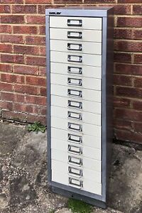 VINTAGE BISLEY 15 DRAWER FILING CABINET METAL MID CENTURY OFFICE COLLECTOR DRAWS