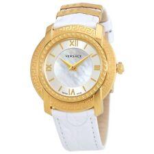 Versace Women DV-25 Swiss Quartz Stainless Steel Leather Watch, White VAM010016
