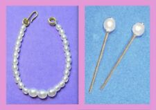Dreamz WHITE GRADUATED PEARL NECKLACE &ERs VINTAGE REPRO Doll Jewelry for Barbie