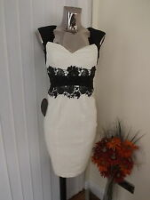 LIPSY VIP IVORY CREAM BLACK EMBELLISHED SWEETHEART DRESS SIZE 6 LADIES BNWT £95