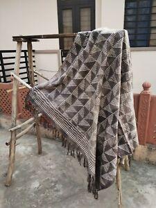 Floral Print Indian Mud Cloth Bohemian Throw Blanket Reversible Chair Sham Decor