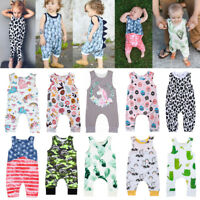 Summer Baby Girls Boys Unicorn Dinosaur Cactus Romper Jumpsuit Playsuit Sunsuit