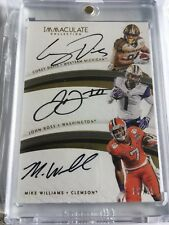 COREY DAVIS - JOHN ROSS - MIKE WILLIAMS 2017 IMMACULATE TRIPLE ON CARD AUTO 6/25