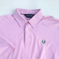 Polo Ralph Lauren Golf Mens Size Large Pink Striped  Pima Cotton Polo Shirt