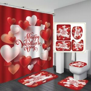 Cozy Valentine's Day Curtain Floor Mat Toilet Lid Cover Bathroom Rugs Mat Set