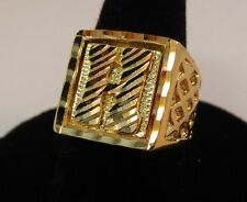 SIZE 9 LETTER H MENS 14KT GOLD EP BLING INITIAL HIP HOP RING