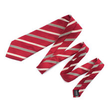 Paul Malone Red Line Tie - Luxury Silk Tie Jacquard Red Stripe Necktie