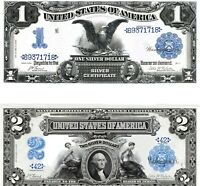 2 Reproductions:1899  $1 & $2 Silver Cert, Black Eagle & Mini-Porthole Hi-Detail