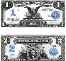 2 Reproductions:1899  $1 & $2 Silver Cert, Black Eagle & Mini-Porthole Hi-Detail
