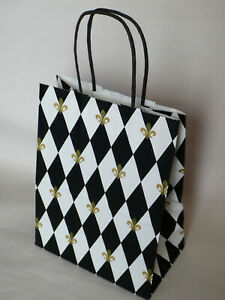French Harlequin Fleur de Lis Paper Gift Bag -  Decorative Gift Wrapping