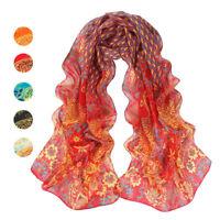 Fashion Women Peacock Flower Print Long Soft Scarf Wrap Shawl Scarves Chiffon