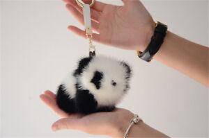 11cm Real Mink Fur Panda Bear Pom Pom Ball Car Keychain Bag Charm Toy Doll Gift