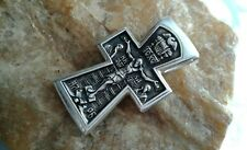 "STERLING SILVER ORTHODOX ICONIC CRUCIFIX ""BAPTISM OF JESUS"" ST. JOHN the BAPTIST"