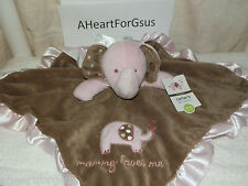 New Carters Security Blanket Pink Elephant Mommy Loves Me Brown W Polka Dot Ears