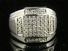 Mens White Gold Pave Big Genuine Diamond Ring .45 Ctw