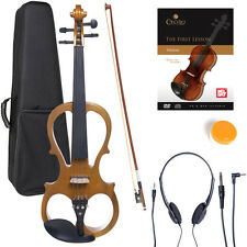 NEW 4/4 Ebony Electric Violin w/Pickup-Yellow,Style-1