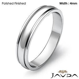 Men Solid Wedding Band Platinum Dome Step Plain High Polish Matte Ring 4mm 6.2gm