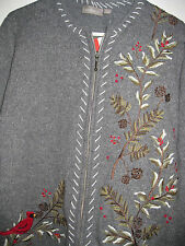 CROFT & BARROW WOMENS GRAY  EMBROIDERED CARDIGAN SWEATER JACKET Size XL
