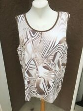 New Chico's Travelers Abstract Texture Lines Tank Top Soft Brown 3 XL 16 18 NWT