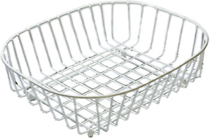 White Oval Sink Basket Metal Plastic Coated Wireware Home Kitchen Storage NEW