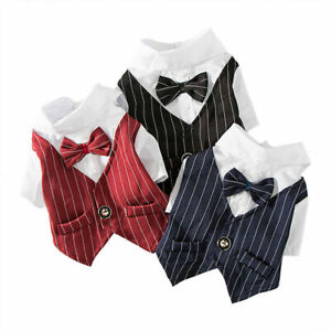 Pet Clothes Wedding Formal T Shirt Puppy Dog Cat Bowtie Tuxedo  Gentleman Suit
