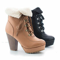 Huxley20L Faux Shearing Folded Ankle Cuff Lace Up Stacked Heel Booties