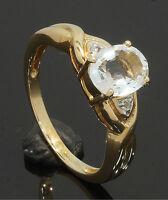 9 Carat Yellow Gold Single 'Aqua Hint' Oval Stone Ring Size N (80.17.233)