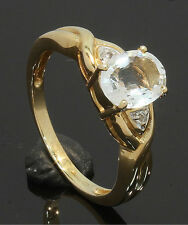 9 Carat Yellow Gold Single 'Aqua Hint' Oval CZ Ring Size N 9CT (80.17.233)