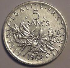 Vème République, 5 Francs Semeuse 1962 Superbe Argent France