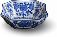 Blue and White Octagon Serving Bowls, Salad Bowls, Fruit Bowls