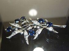 Vintage Sterling Brooch / Pin :  Sapphire Blue Rhinestone Flowers 925 Silver