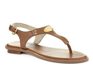 New! MICHAEL KORS ~Size 9.5~ MK Logo Plate Thong Brown Leather Sandals Shoes NWB