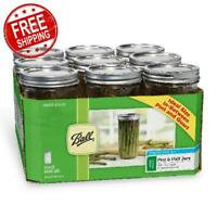 Ball Wide Mouth Canning Mason Jars Clear Glass With Lids Bands 24 Oz 9-Count NEW