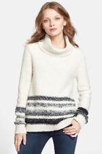 SEXY!!  NWT $178 SPLENDID Ivory Black Gray Wool Blend Turtleneck Sweater Top  S