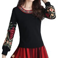 Women Embroidery Shirt Ethnic Top Pullover Lady Puff Sleeve Chinese Retro Floral